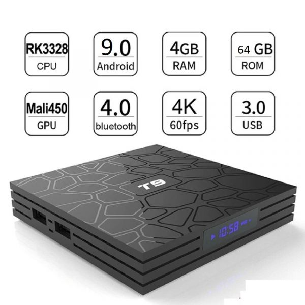 SMART BOX T9 4GB+64GB QUAD CORE 4K ULTA HD 9.0V