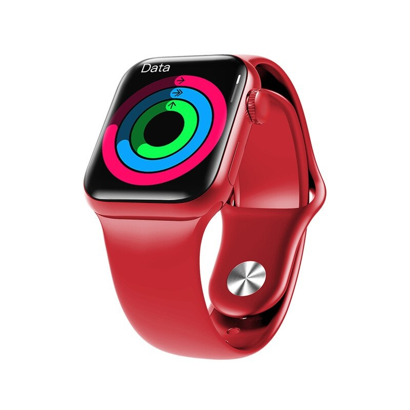 HW12 Smart Watch 40mm Full Screen With Rotating Key Heart Rate - Red
